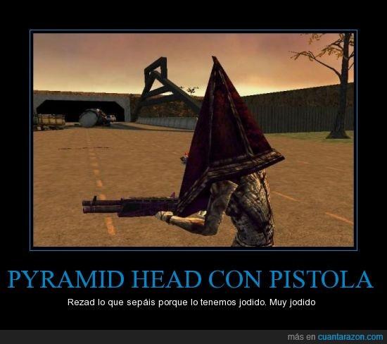 armas,asi ni con el rifle lo mato,DAFAK!,juegos,Pyramidal Head,Silent Hill 2