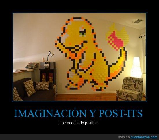 charmander,imaginación,Pokemon,post-it,sofa