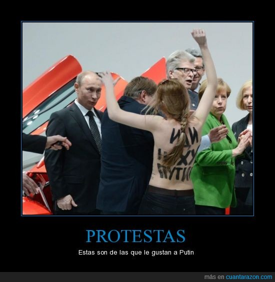 en bolas,Hannover,manifestación,Merkel,protestas,Putin,tía