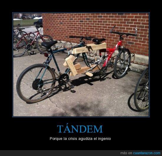 agudizar,bicicletas,clavos,crisis,ingenio,maderas,manillar,pedales,tándem