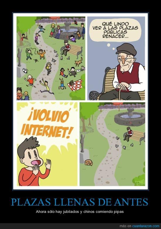 abuelo,internet,lleno,plaza,razón