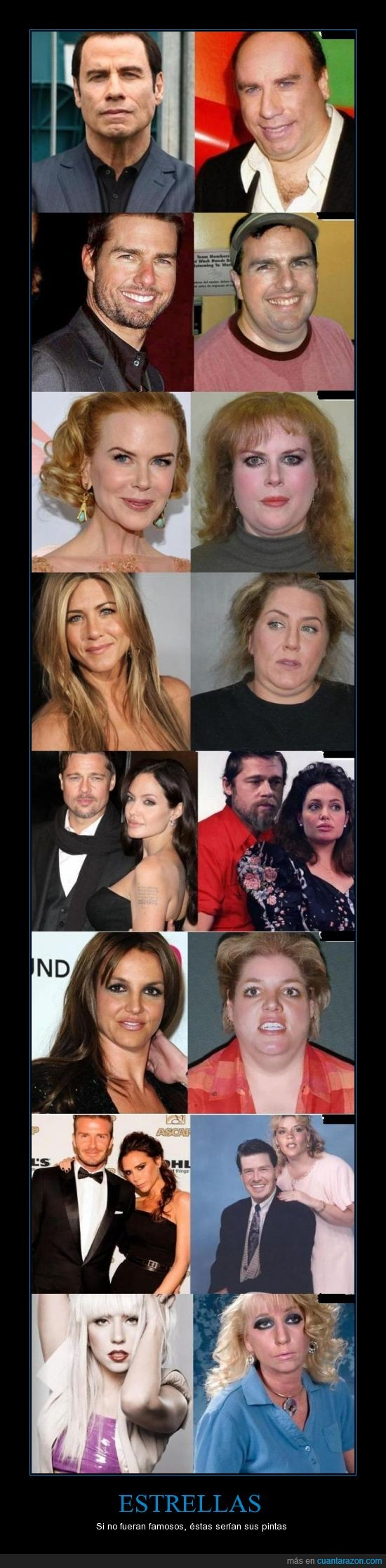 Brangelina,Britney Spears,David y Victoria Beckham,Jennifer Aniston,John Travolta.,Lady Gaga,Nicole Kidman,tom cruise