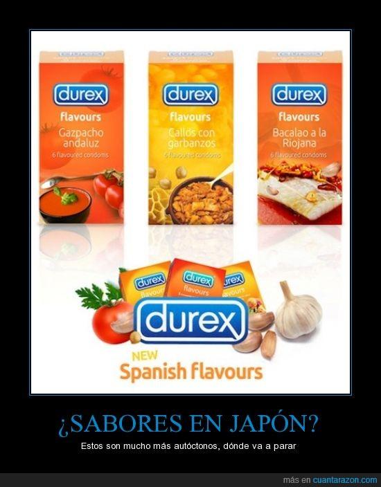 comida,condones,España,flavours,japoneses,sabores,Spanish
