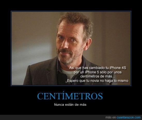 apple,centimetros,Gregory House,Hugh Laurie,iphone 4s,iphone 5,novia