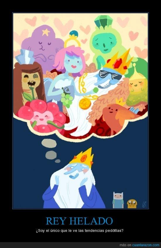hora de aventura,mirar,niña,princesa,Rey helado