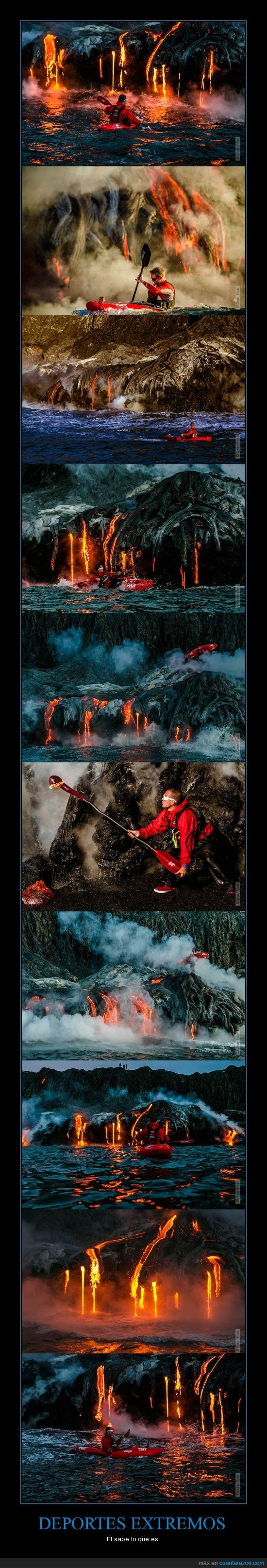 canoa,deporte,extremo,kayak,lava,rio,volcan