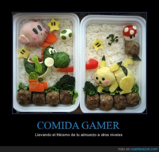 almuerzo,bento,frikismo,gamer,pikachu,SSBB,yoshi