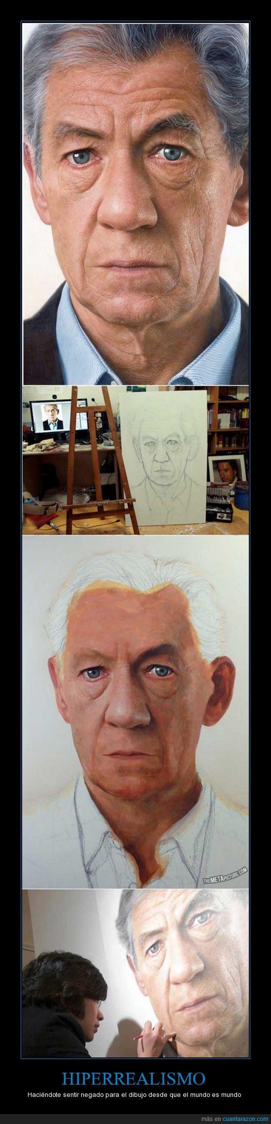 cuadro,dibujo,gandalf,hiperrealista,lienzo,magneto,sir Ian McKellen