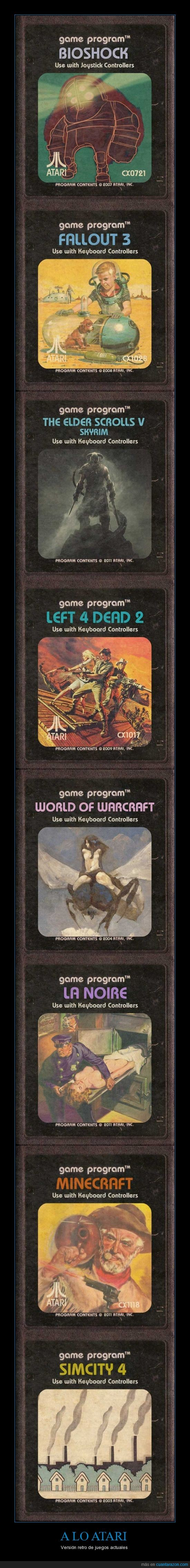 actual,atari,bioshock,cartucho,fallout,left 4 dead,sim city,skyrim,videojuego,wow
