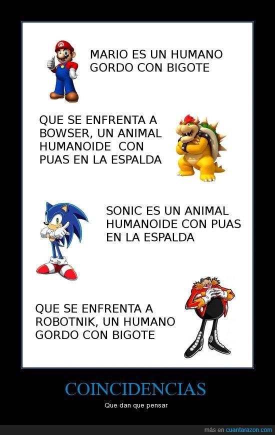 Bowser,Como alguien diga que Robotnik se llama Eggman lo mato,Mario,Nintendo,Robotnik,Sega,Sonic