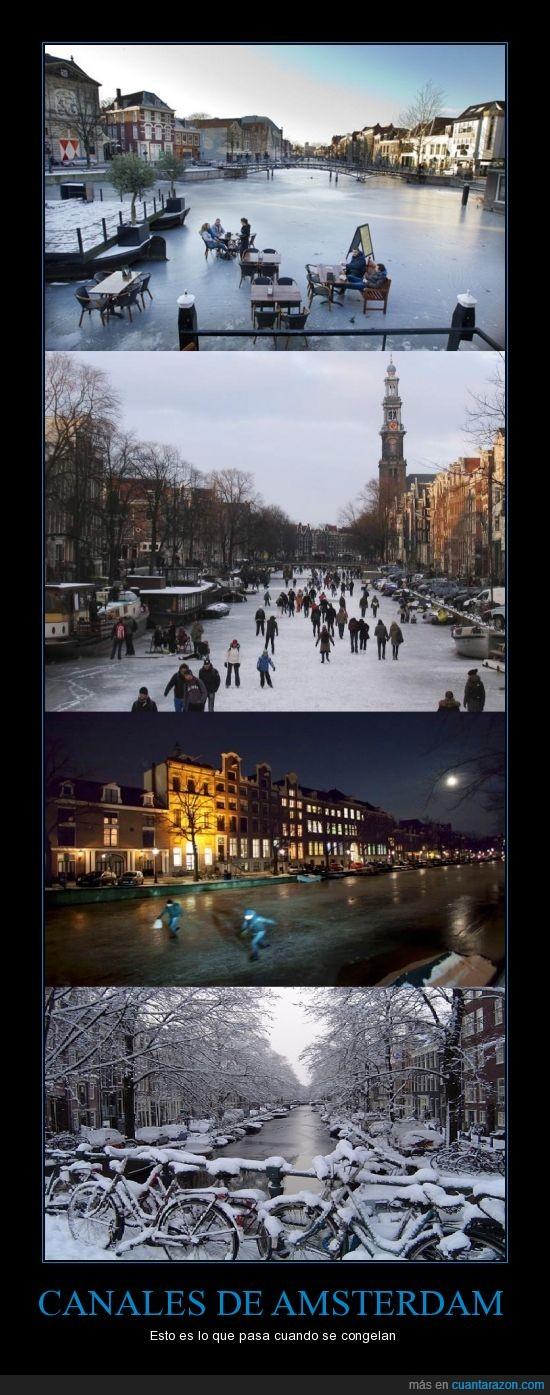 amsterdam,andar por el hielo,Canal,canales congelados,jugar