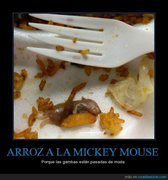 arroz,china,comoda,raton,restos,tenedor