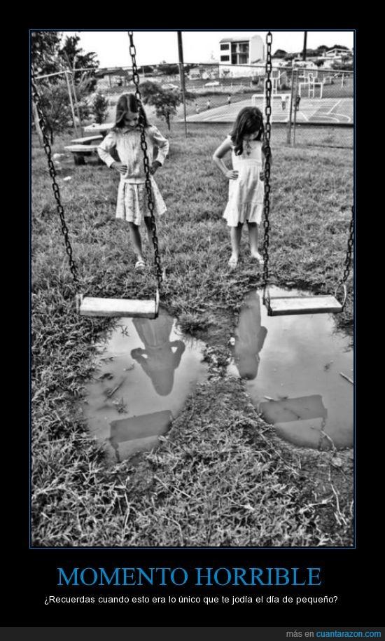 columpios,dia,infancia,joder,lluvia,recordar,subir