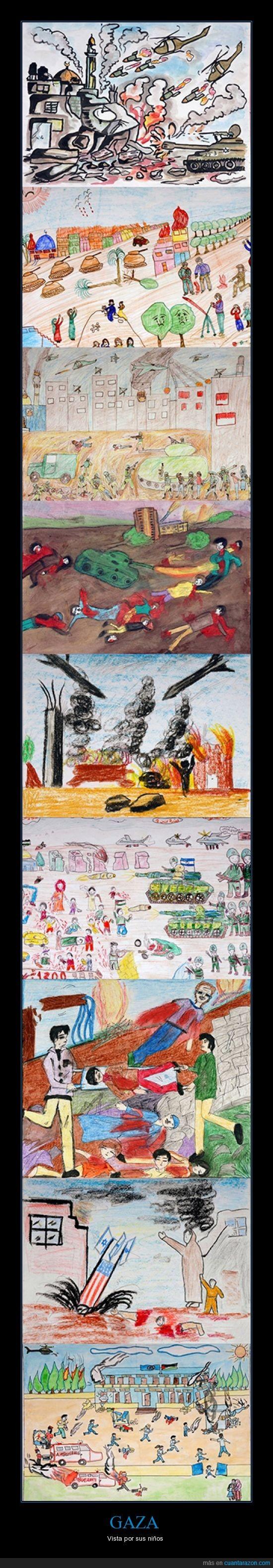 dibujos,dolor,Gaza,guerra,niños,Palestina,sufrimiento
