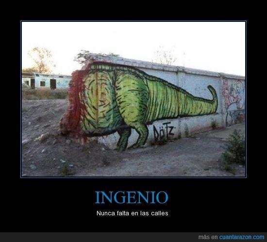 dinosaurio,ingenio,muro calles,sangre