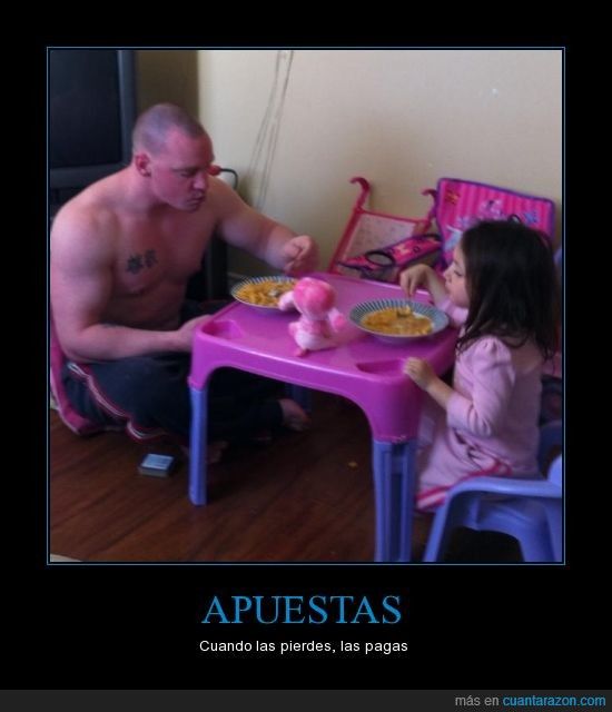 Apuestas,calvo,comida,hija,músculos,niña,rosa