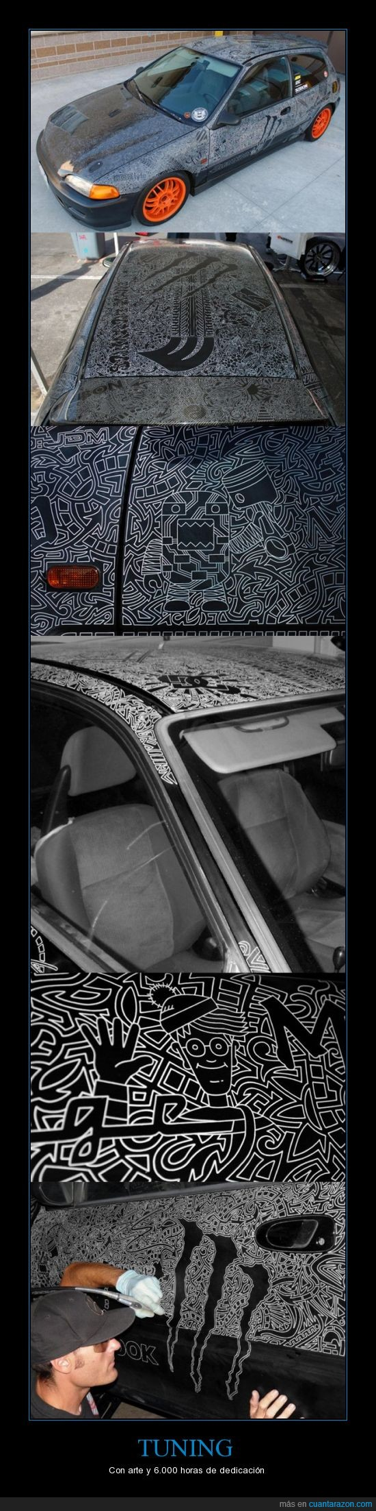 arte,coche,decoración,honda civic,paciencia,pintar,tunear,wally