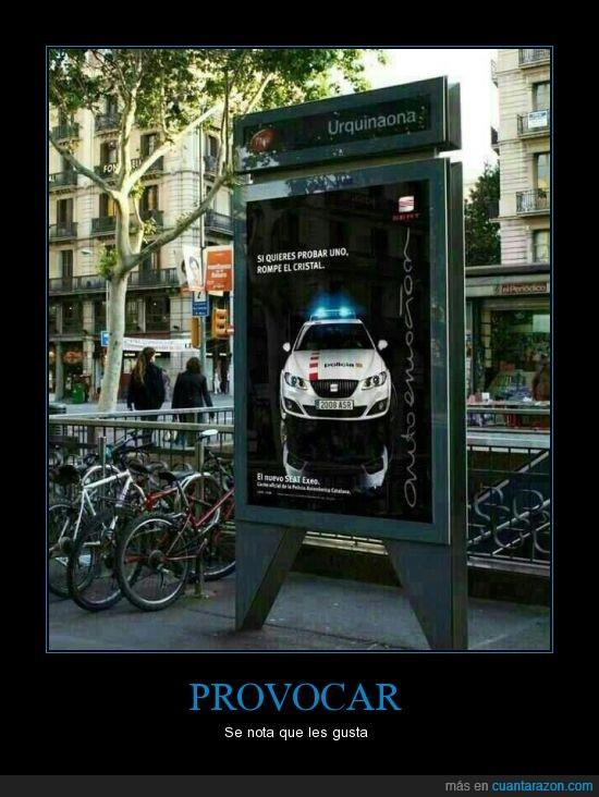 anuncio,coche,leon,marquesina,mossos d'esquadra,policia,publicidad,seat,urquinaona