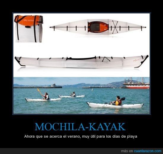 agua,flotar,kayak,mochila,navegar,playa