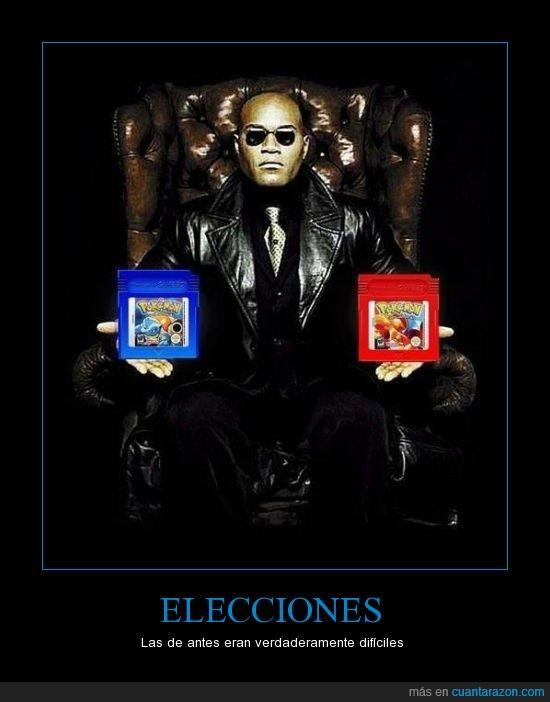 elección,elegir,matrix,morfeo,pastilla,Pokemon azul,pokemon rojo