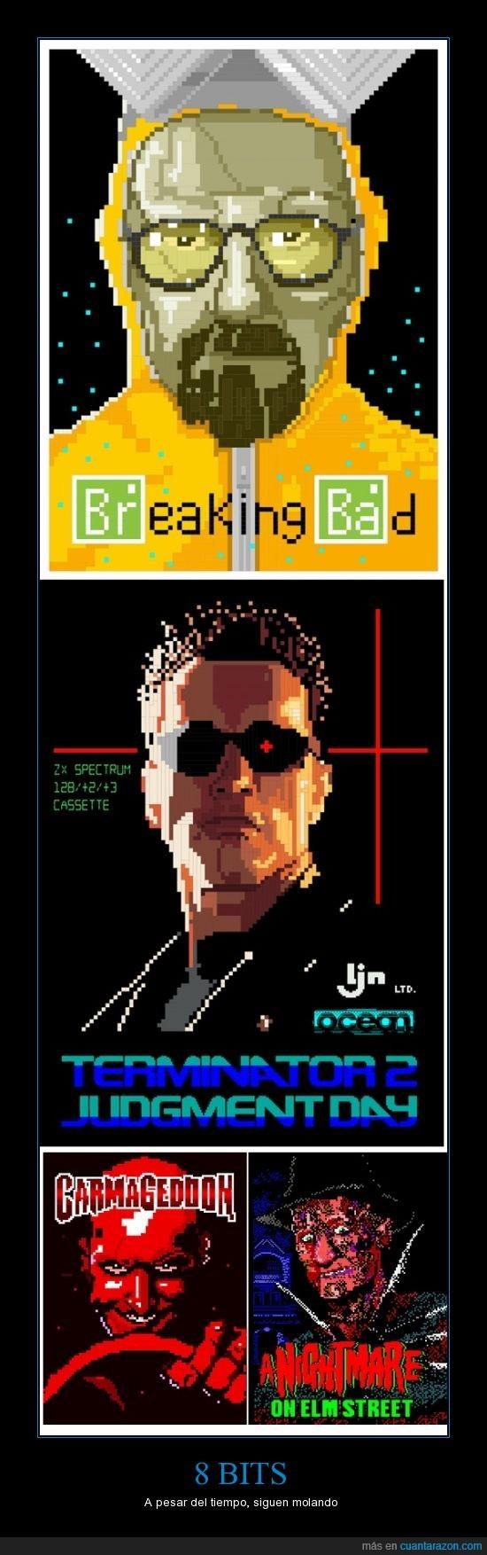 8 bits,breaking bad,freddy krueger,películas,personajes,series,televisión,terminator,versión