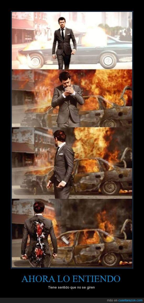 Auto,Espalda,Explosión,Frente,Fuego,Hombre,Películas,Sangre