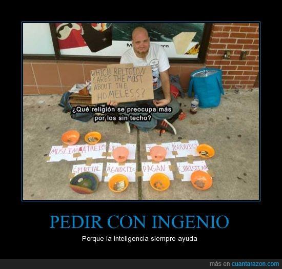 ateo,cristiano,homeless,mendigo,pedir,religion,sin techo