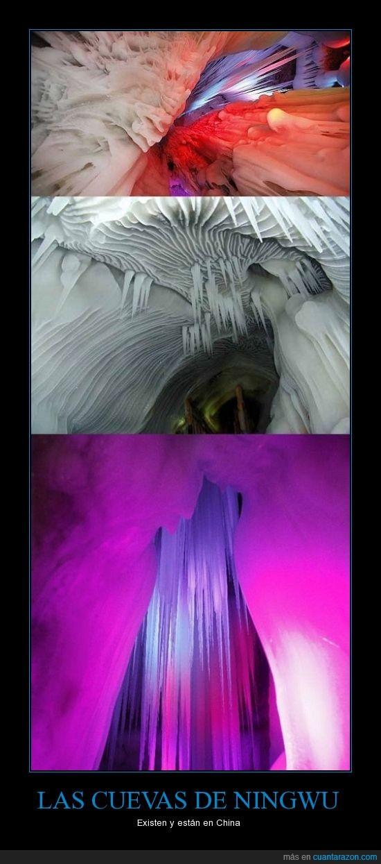 bonito,China,Cuevas,estalagtitas,hielo,Ningwu