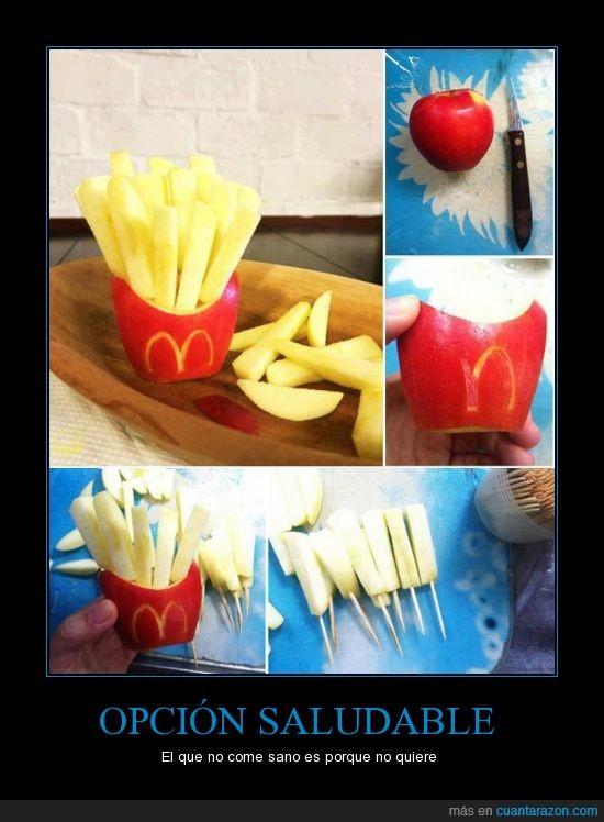 casero,manzana,mcdonalds,natural,palillos,patatas,rico