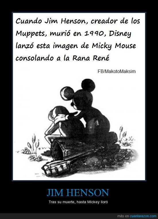 Disney,gustavo,Jim Henson,kermit,Mickey Mouse,muerte,muppets,pésame,Rana,René