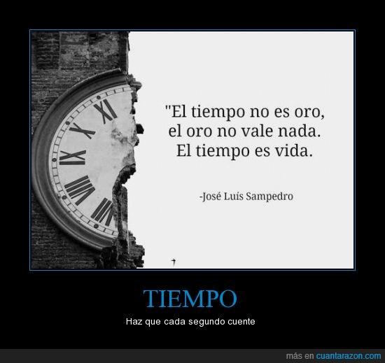 jose luis sampedro,no la desperdicies,oro,razon,reloj,tiempo,vida