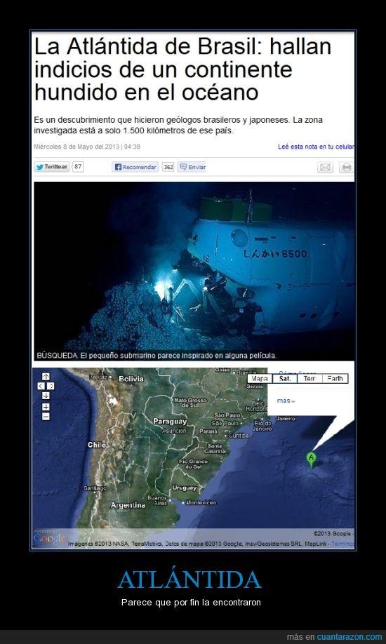 Brasil,continente perdido en Brasil,Japon,Julio Verne,La Atlántida Brasilera,la Atlántida de Brasil,una masa terrestre pudo haberse hundido en el océano durante la separación de la llamada pangea