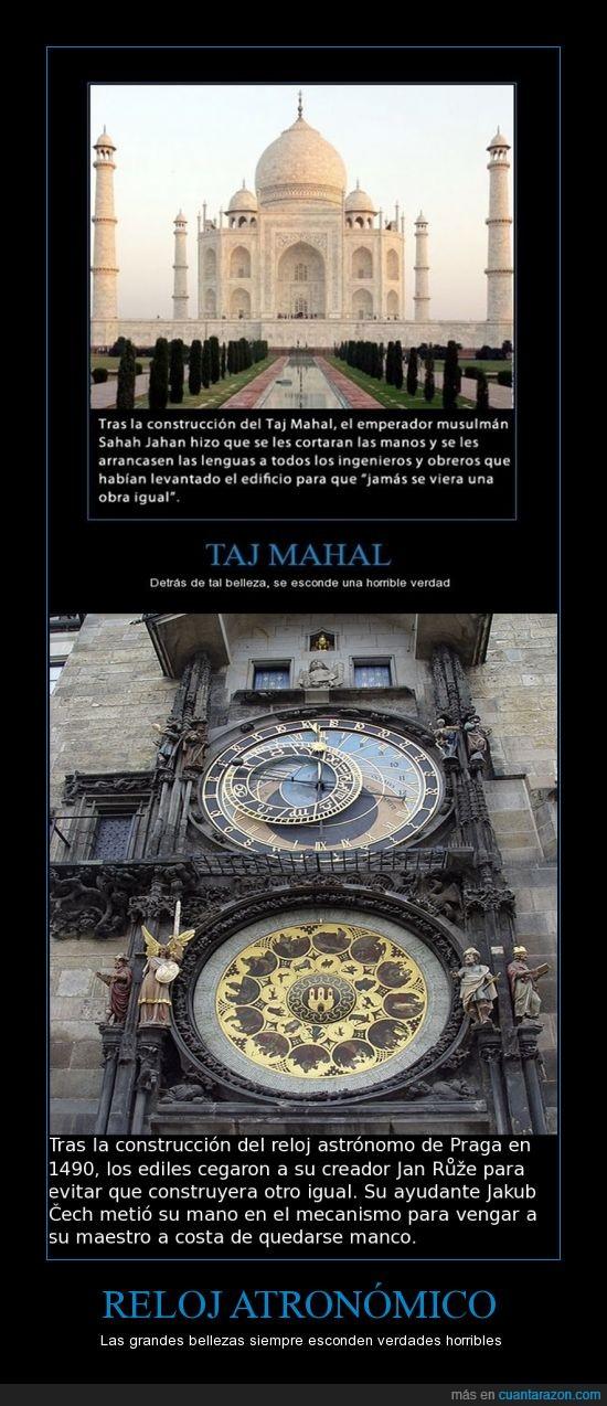 cruel,historia,humanidad,praga,realidad,reloj,taj mahal