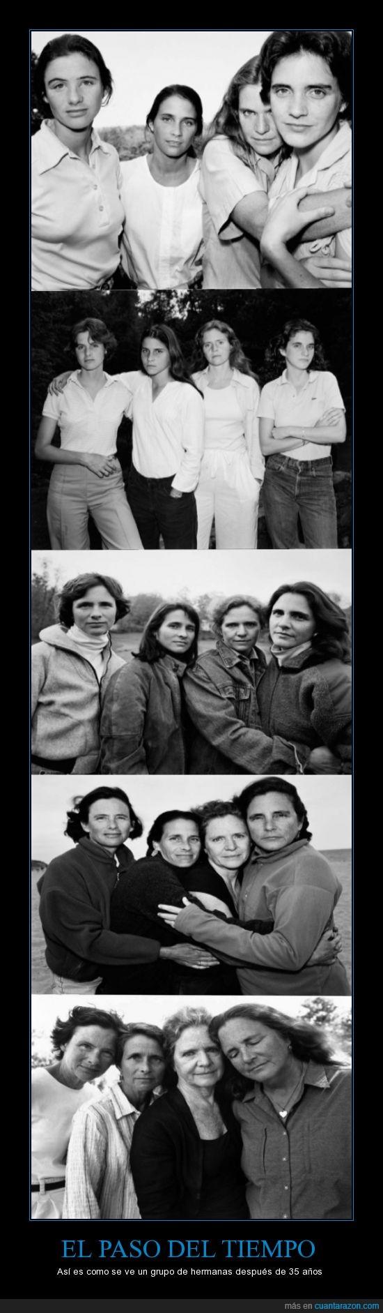 35 años,desde 1975,fotos,hermanas,paso del tiempo,tiempo,vejez