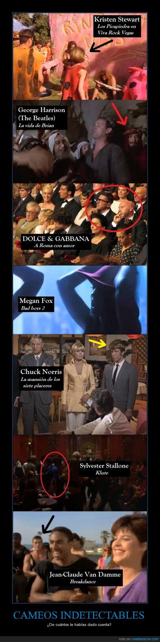 Beatles,Cameo,Chuck Norris,george harrison,Megan Fox,Monty Python,Picapiedra,Van Damme