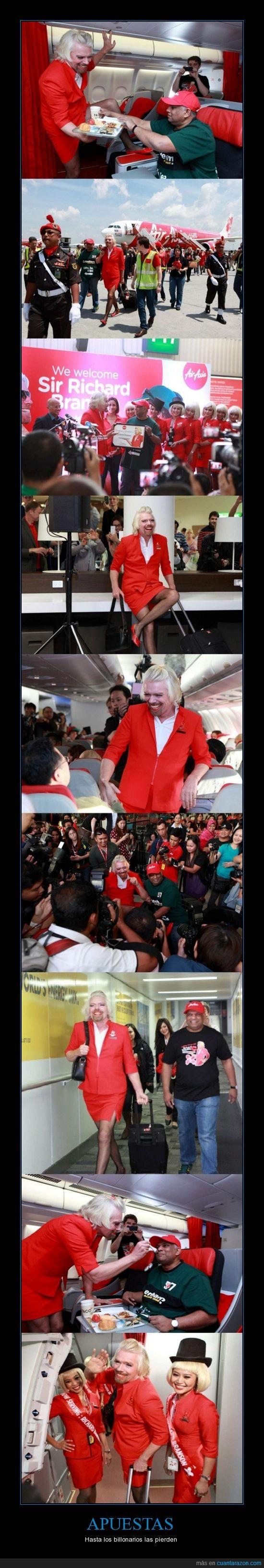 apuestas,avion,azafata,billonarios,millonarios. ricos,Sir Richard Branson,vuelo