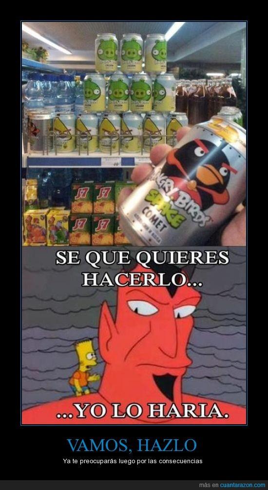 angry,bart,bird,demonio,diablo,lata,supermercado,tirar