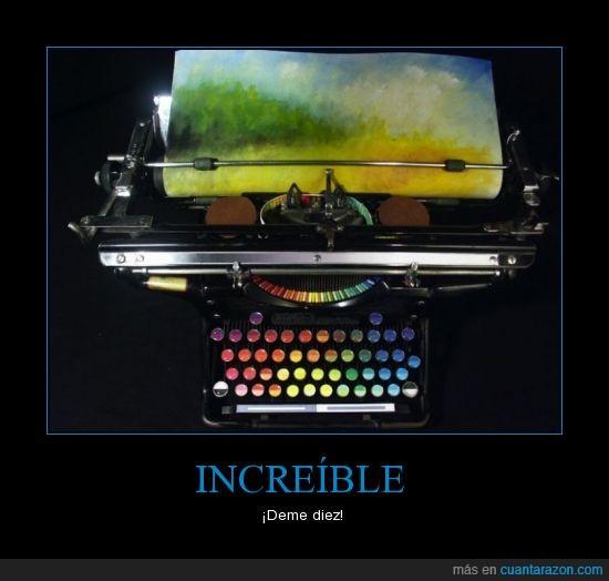 arcoiris,colores,escribir,fantastico,maquina,pintar