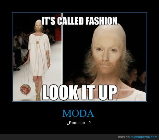 barba,calva,estupidez humana,maquillaje,Moda,modelo,vestido