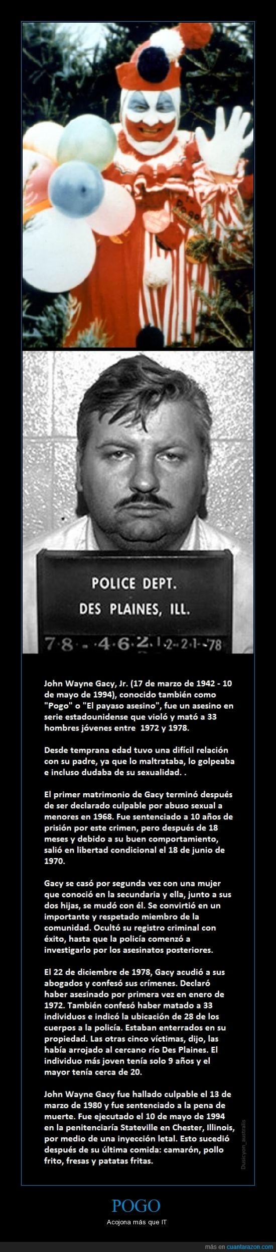 asesinos seriales,John Wayne Gacy,Payaso asesino,Pogo