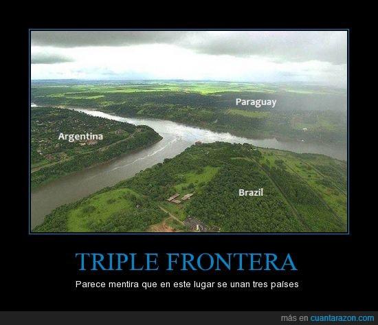 Argentina,Brazil,converger,frontera,Paraguay,río,sorprendente,vista