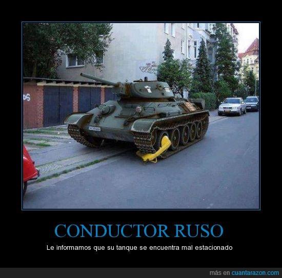 aparcar,calle,cepo,estacionar,multa,policia,Rusia,tanque