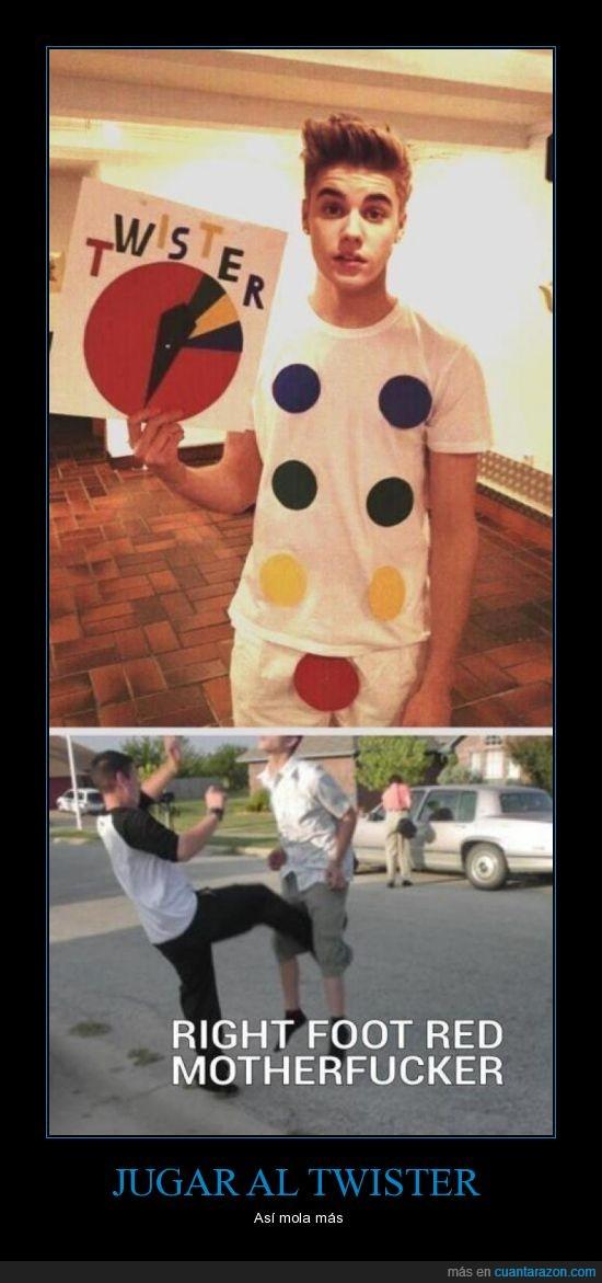 Justin Bieber,molar más,Patada en las bolas,Twister