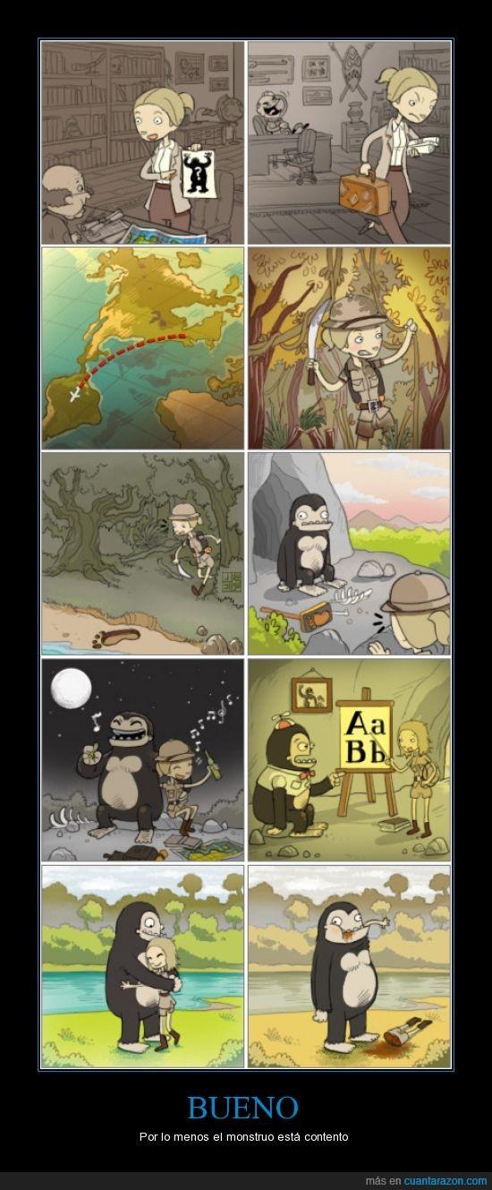 comer,descubrir,enseñar,espeleologa,gorila,mono,monstruo,yeti
