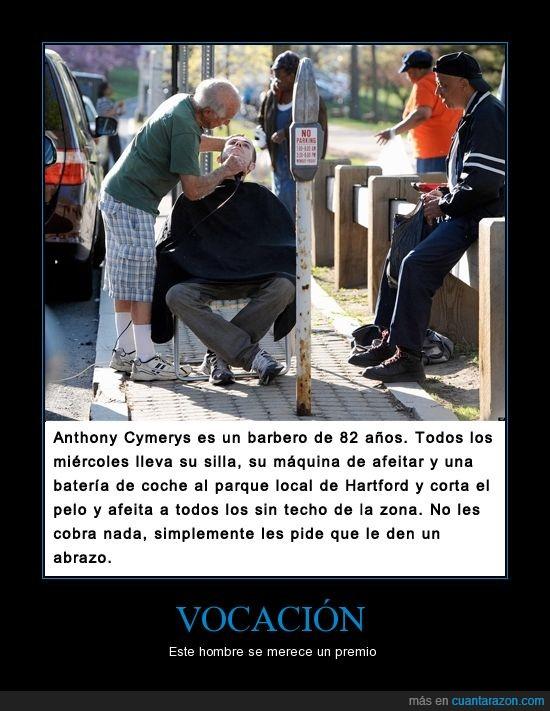afeitar,Anthony Cymerys,barba,barbero,corta,gratis,homeless,pelo,pobre,sin techo