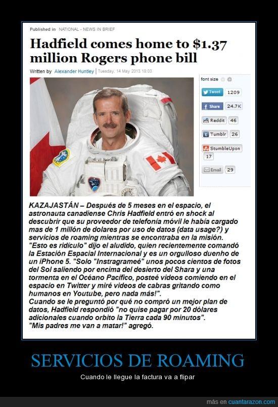 astronauta,compañia,deuda estratosferica,dinero,instangram,Iphone,pagar,susto,telefonica