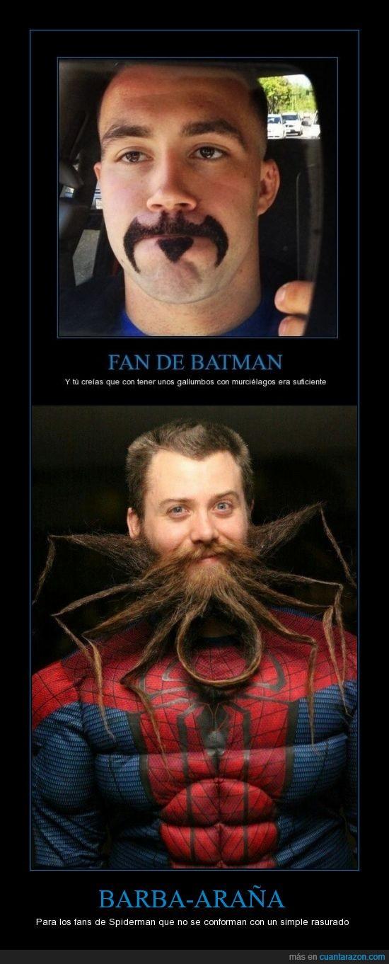 barba,batman,lol,miradas extrañas,spiderman