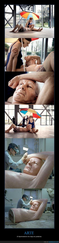arte,escultura,hiperrealismo,hombre,mujer,paraguas,señor,sombrilla,tumbado