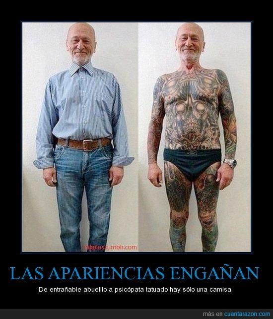 abuelo,ropa,señor,tapa,tatuaje