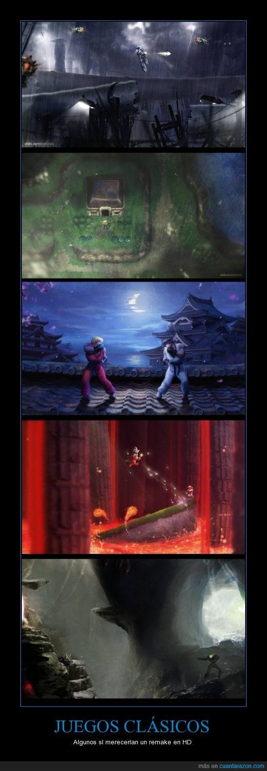 juegos clasicos,ken y ryu,link,mario,megaman,metroid,samus,street fighter